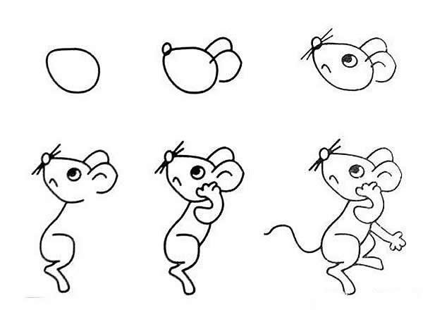 小老鼠简笔画的画法 幼儿园分享,一学就会!