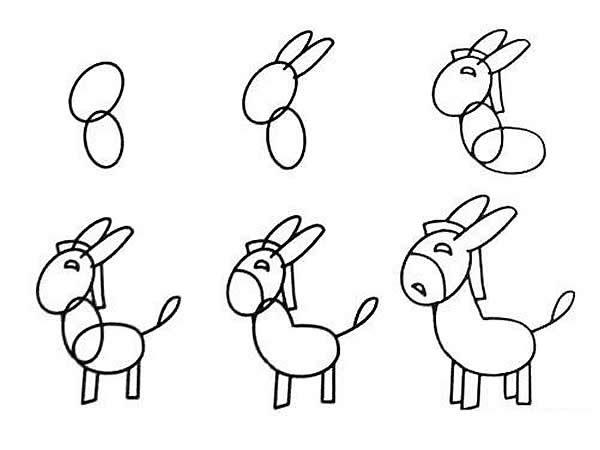 小毛驴简笔画的画法 幼儿园分享,一学就会!
