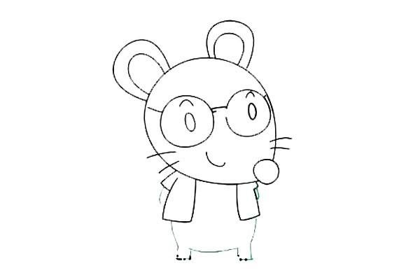 戴眼镜的卡通老鼠简笔画步骤图解教程 彩色版
