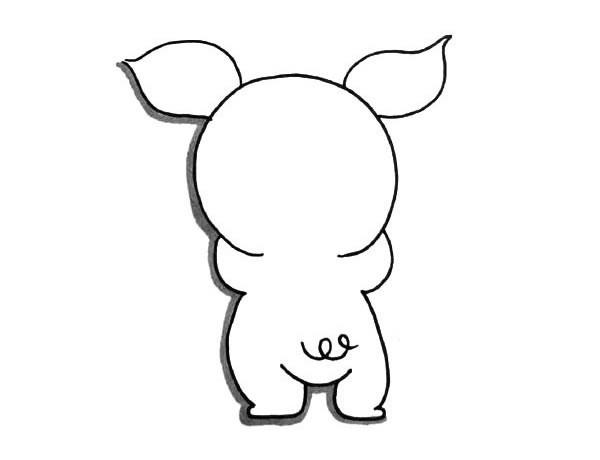 两只可爱的卡通小猪简笔画图片大全