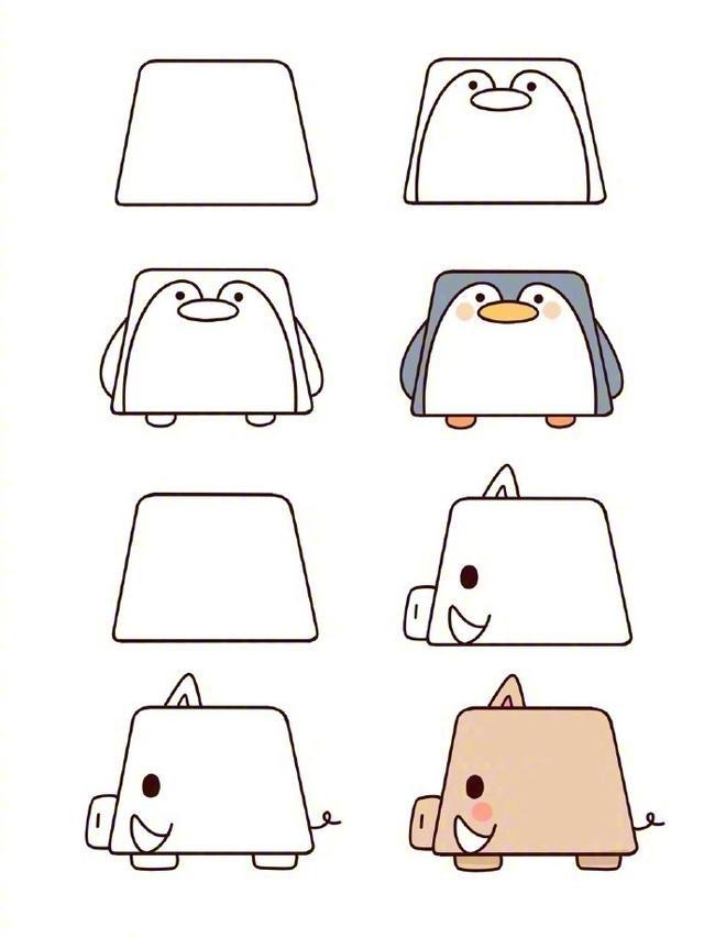 一组可爱又简单的梯形小动物简笔画图片大全