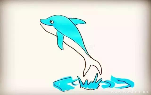 跳出水面的可爱海豚简笔画步骤图文教程