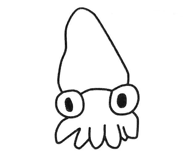 5款可爱的卡通鱿鱼简笔画图片 如何画鱿鱼