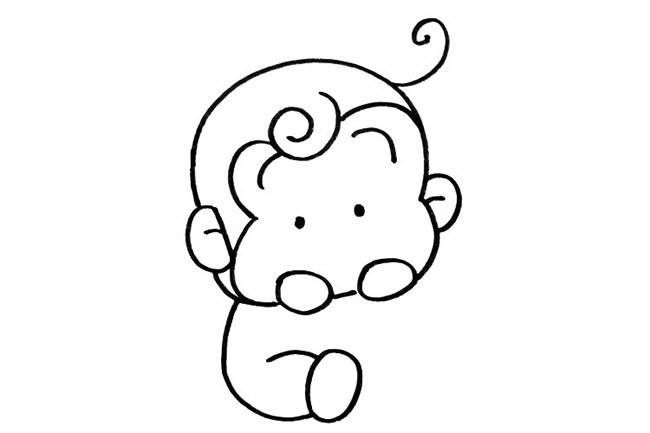 可爱的小猴子简笔画步骤图片 超简单的画法教程