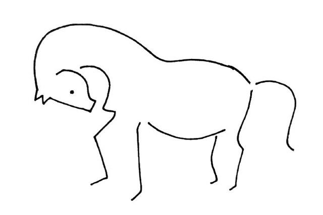 一波单线动物简笔画(大象,梅花鹿,豹子,马,狮子,骆驼,老虎)