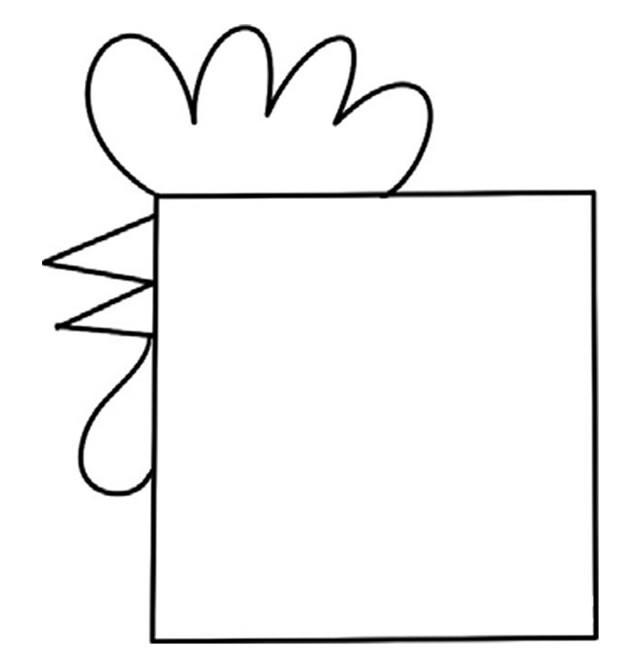 方形公鸡简笔画步骤图教程 非常有趣,家长收藏