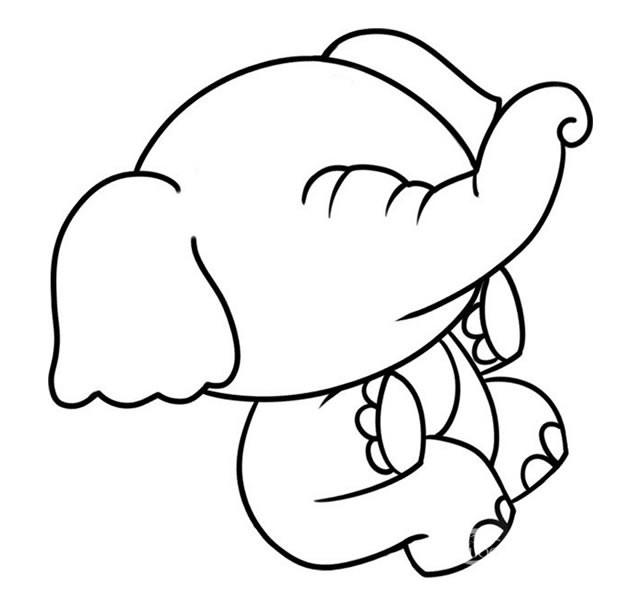 坐在树桩上玩耍的大象简笔画步骤图解