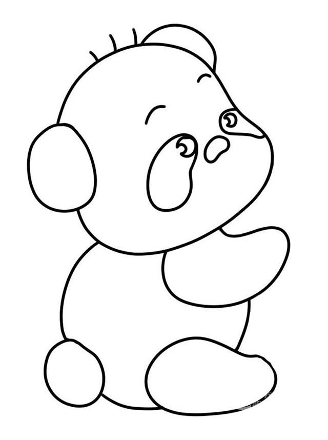 开心的熊猫吃竹子简笔画简单画法