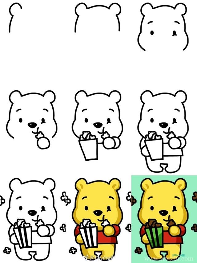 维尼熊简笔画步骤图解 动漫简笔画