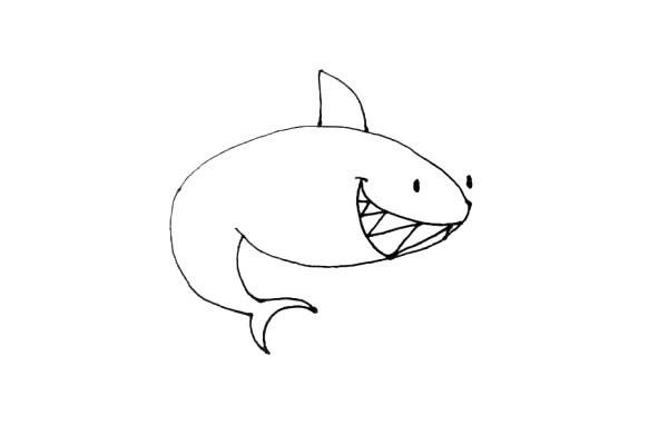 凶残的鲨鱼简笔画步骤图文教程 彩色版画法